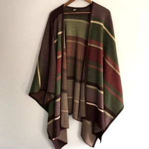 Peruvian Connection Oversized Striped Baby Alpaca Wool Sweater Cape